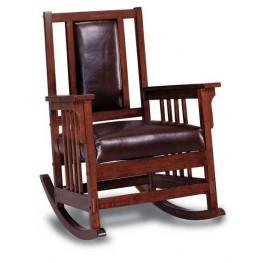 Dark Oak Leather Recliner Chair - 600058