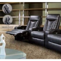 Cyrus Black Leather Match Two-Seat Home Theater Set - 600130-2
