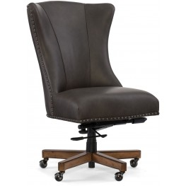 Lynn Gray Leather Home Office Swivel Chair