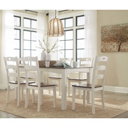 Woodanville White and Brown 7 Piece Dining Room Set