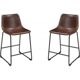 Centiar Brown and Black Upholstered Barstool Set of 2
