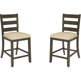 Rokane Light Brown Upholstered Barstool Set of 2