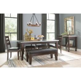 Larchmont Metallic And Dark Brown Rectangular Dining Room Set