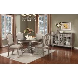 Regency Park Pearlized Platinum Round Dining Room Set