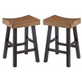 Glosco Two-Tone Backless Stool Set of 2