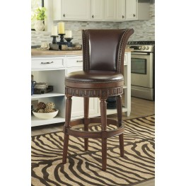 North Shore Dark Brown Tall Upholstered Swivel Barstool