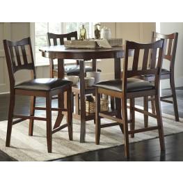 Renaburg Medium Brown Oval Counter Extendable Dining Room Set