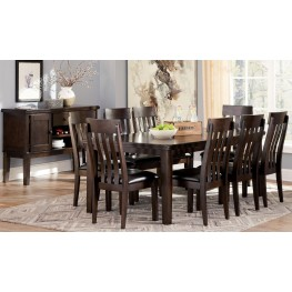 Haddigan Dark Brown Rectangular Extendable Dining Room Set