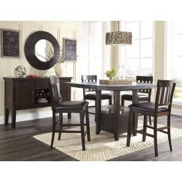 Haddigan Dark Brown Rectangular Extendable Counter Height Dining Room Set