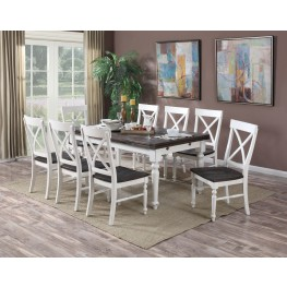 Mountain Retreat Brown and White Extendable Rectangular Dining Room Set