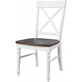 Mountain Retreat Brown and White X-Back Dining Chair Set of 2