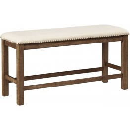 Moriville Beige Double Upholstered Bench