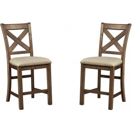 Moriville Gray Upholstered Barstool Set of 2