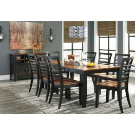 Quinley Two-Tone Butterfly Extendable Rectangular Dining Room Set