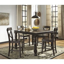 Gerlane Dark Brown Rectangular Counter Height Extendable Dining Room Set