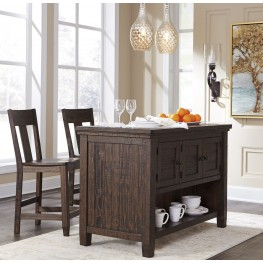 Trudell Dark Brown Rectangular Storage Counter Height Dining Room Set