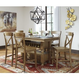 Trishley Light Brown Rectangular Storage Counter Height Dining Room Set