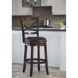 Porter Rustic Brown Tall Upholstered Swivel Barstool Set of 2