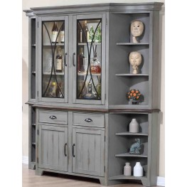 Colonnades Putty and Oak Buffet with Hutch
