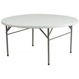 "60"" Round Bi-Fold Granite White Plastic Folding Table"