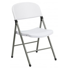 Hercules Series White Plastic Folding Chair with Gray Frame
