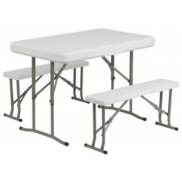 Plastic Folding Table and 2 Benches Set