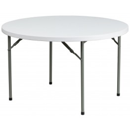"48"" Round Granite White Plastic Folding Table"