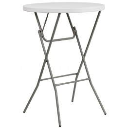 "1000729 32"" Round Granite White Plastic Bar Height Folding Table"