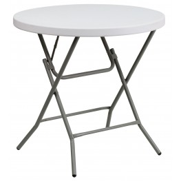 "32"" Round Granite White Plastic Folding Table"