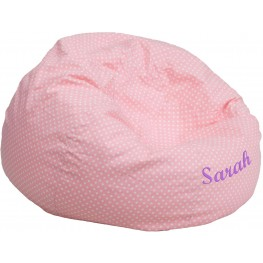 Personalized Oversized Light Pink Dot Bean Bag Chair with Embroidered Text