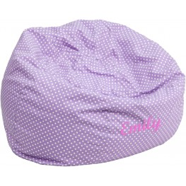 Personalized Oversized Lavender Dot Bean Bag Chair with Embroidered Text