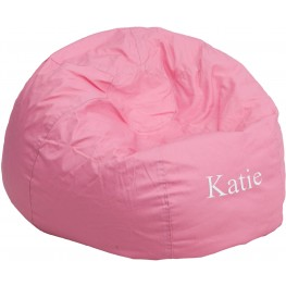 Personalized Oversized Solid Light Pink Bean Bag Chair with Embroidered Text