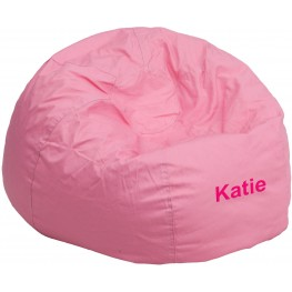 32114 Personalized Small Solid Light Pink Kids Bean Bag Chair