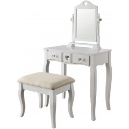 Francine White Vanity With Stool