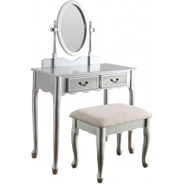Adriana Silver Vanity With Stool
