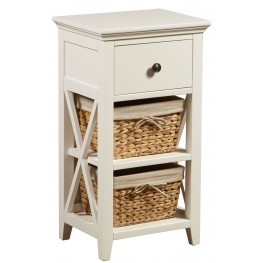 White Linen Basket Bathroom Storage