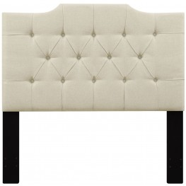 Beige Full/Queen Upholstered Panel Headboard