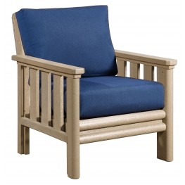 Stratford Beige Chair With Indigo Blue Sunbrella Cushions