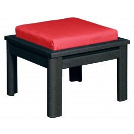 Stratford Black Small Ottoman With Black Cushions