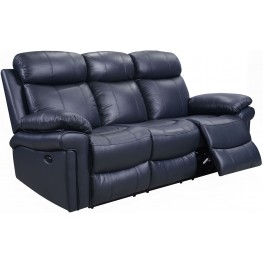 Shae Joplin Blue Leather Power Reclining Sofa