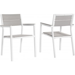 Maine White Light Gray Dining Armchair Outdoor Patio Set of 2