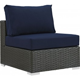 Sojourn Canvas Navy Outdoor Patio Upholstered Sunbrella Armless Chair