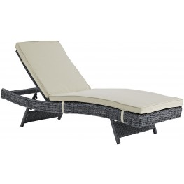 Summon Antique Canvas Beige Outdoor Patio Sunbrella Chaise