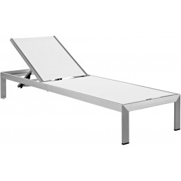 Shore Silver White Aluminum Outdoor Patio Mesh Chaise