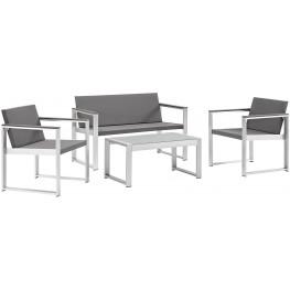 Triumph Silver Gray 4 Piece Aluminum Outdoor Patio Conversation Set