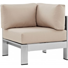 Shore Silver Beige Aluminum Outdoor Patio Corner Sofa