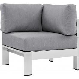 EEI-2264-SLV-GRY Shore Silver Gray Aluminum Outdoor Patio Corner Sofa