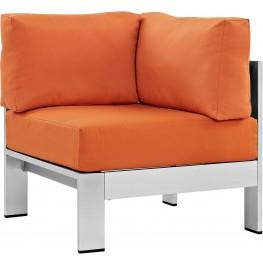 Shore Silver Orange Aluminum Outdoor Patio Corner Sofa