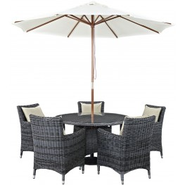 Summon Antique Canvas Beige 7 Piece Outdoor Patio Sunbrella Dining Set