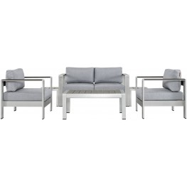 EEI-2568-SLV-GRY Shore Silver Gray 6 Piece Aluminum Outdoor Patio Sectional